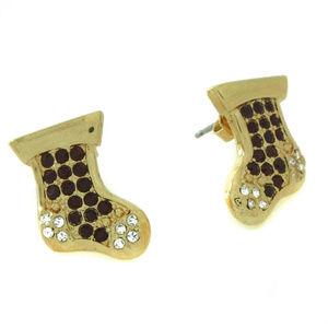 Quacker Factory Goldtone Stocking Holiday Earrings